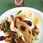 Fish (Ahi) tacos and macaroni salad