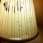 the broken and stained lamp shade on the desk