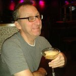 Author with delectable, half-drunk espresso martini. %P