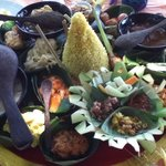 Balinese Rijsttafel a must do in Bali. 20 different dishes to sample real Balinese food