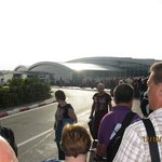 Queue outside Enfidha when we returned to the UK