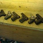 Selection of handguns.