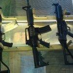 Assault rifles.