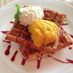 Waffles at breakfast