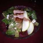 House Salad with succulent slice of duck breast and pear