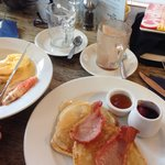 Eggs Royale & buttermilk pancakes with bacon. Scrummy!!