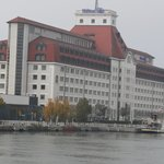 Hilton Danube, Vienna, - seen from the river.