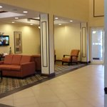 Lobby area with TV and comfortable seating