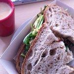 Brood van Menno sandwich with freshly made hummus.
