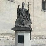 The Statue of Pope John-Paul II outside the Metropolitan Cathedral in Mexico City