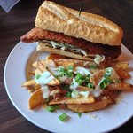 Catfish sandwich and cheese fries