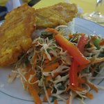 Rice, plantains and a delicious cabbage salad.