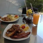 Eggs Benedict and Apple Cinnamon French Toast
