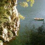 Romantische Bucht auf dem Weg von Gandria nach Lugano