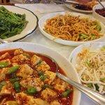Vegetarian feast: mapo tofu, tofu skins, mapo noodles, water spinach, sauteed eggplant.