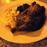 Spice rubbed half chicken with garlic smashed potatoes and spinach. Yum!!