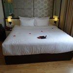 My bed plus rose petals!!