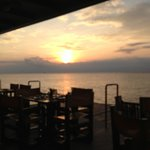Wonderful sunset view from our table at Rolandi's.