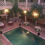 Riads dining and relax area by evening