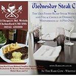 Steak Club Wednesdays Finest Steak, Chips, Veg and desert  from Huntsham Farm just £7.99 12-6pm