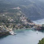 View of Assos village from the walk up to the ruined Venetian castle.