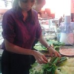 "Agnes preparing a ""Fondue Chinoise"""