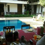 breakfast overlooking pool