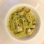 Spaghettoni con bocconcini di scorfano, crema di pistacchi e mascarpone al profumo di limone