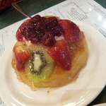 Rum soaked sponge cake with fruit toppings