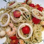 Spaghetti Marinara (calamars, crevettes, tomates)