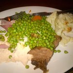 King size plate with a selection of carvery and vegetables