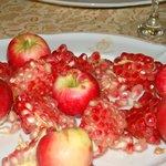 Fresh pomegranate and apples for dessert