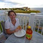 Enjoying breakfast overlooking the roanoke Sound