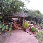 Terrasse du bar avec vue sur le lac Manyara