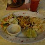 Grilled Shrimp, Scalloped Potatoes, Salad