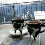 Swiss Hot Chocolate in cow cups!   - Swiss Breakfast items  - Hotel Schynige Platte