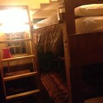 The bunk beds, in the back bedroom area of Caboose #1