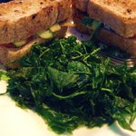 Grilled Veggie Sandwich with a side of Flash Fried Spinach
