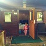 Front of beech log cabin