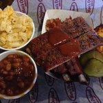 St. Louis style BBQ ribs, corn bread, BBQ beans and mac n cheese.