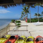kayaks along the beach of the resort