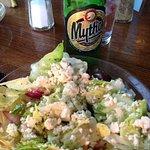 Greek Salad and Mythos lager