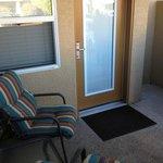 The studio side private patio area