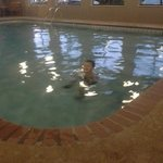 Great pool for kids. Not but 4 1/2 to 5ft at the deepest. A lot of area at 3ft.