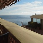 View of sea from terrace during breakfast