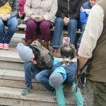 Adlerwarte Berlebeck griffon vulture standing on child's back