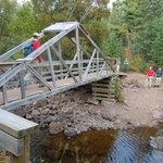 Suspension bridge over the Split Rock River - one at a time, please!