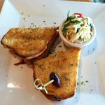 the yummy cheese sandwich with orzo salad