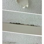 These three pictures show the peeling ceiling and the mold in the bathroom.