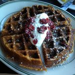 pumpkin waffle with cranberries